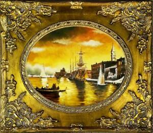 Painting-Oil-Painting-Picture-Oil-Frame-Pictures-Sea-Ships-Oil-Painting-G02163
