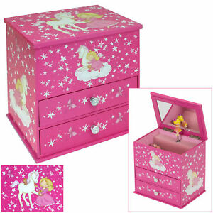 GIRLS 2 DRAWER PINK UNICORN MUSICAL JEWELLERY & TRINKET BOX WITH MIRROR BY MELE