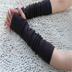 Fashion-Women-Girls-Soft-Hand-Arm-Warmer-Long-Fingerless-Knit-Gloves-Mittens-P0
