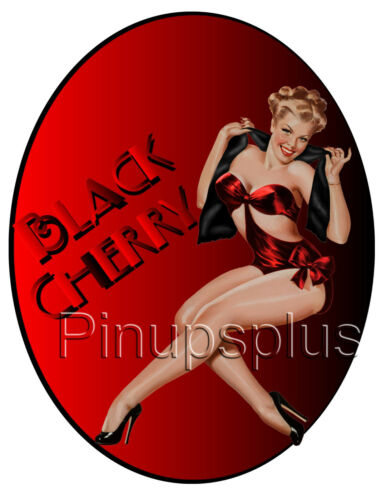 WWII Style Black Cherry Blond Pinup Girl Nose Bomber Art Waterslide Decal S1009