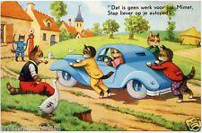 chats humanisés.automobile.pompe à essence.oie.humanized cats.old car.fuel pump.