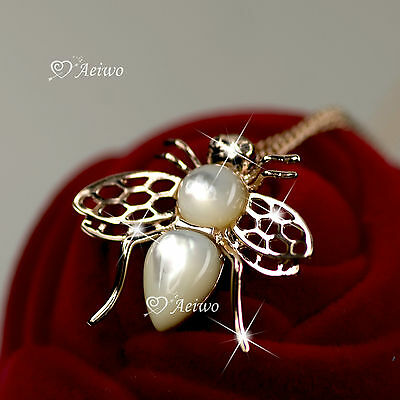 18K ROSE GOLD GF SHELL MADE WITH SWAROVSKI CRYSTAL PENDANT BEE NECKLACE