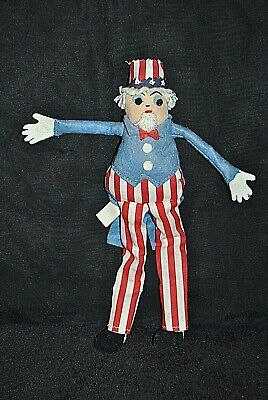 Holiday & Seasonal Bright Vintage Toss Toys Handmade By Ellner Cloth 4th Of July Uncle Sam 10""