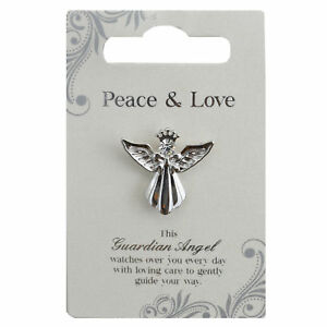 Peace-amp-Love-Silver-Coloured-Angel-Pin-With-Gem-Stone-Sentimental-Gift-Idea