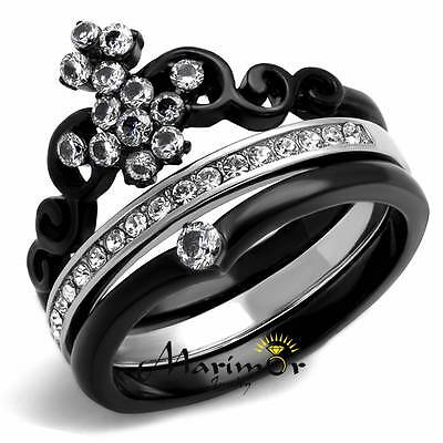 Women's Black Ion Plated Stainless Steel CZ Crown Wedding Ring Band Set Sz 5-10
