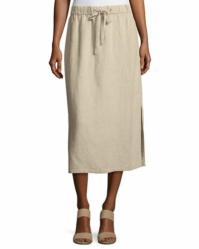 NWT Eileen Fisher Heavy Organic Linen Midi Skirt Natural Sz M L  198 S7HLH S3958