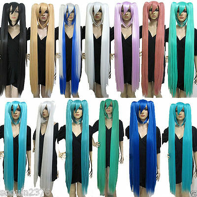 Hot New Vocaloid Hatsune Miku Show Anime Costume Cosplay Party Hari wigs