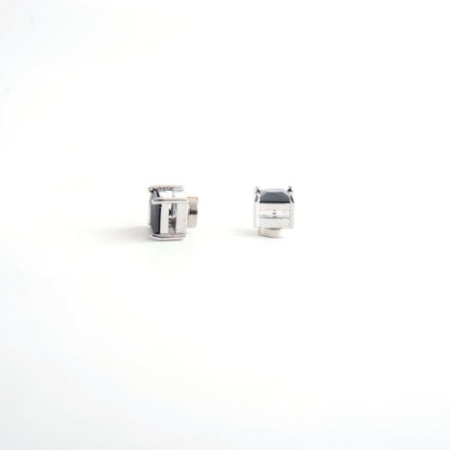 Silvertone with Black Cz Square Magnetic Stud Earrings