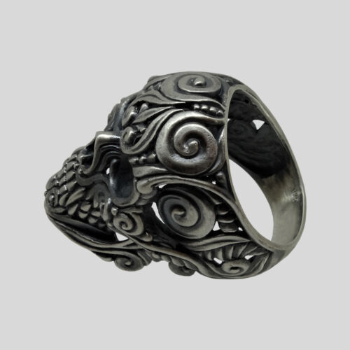 Sugar Skull Mexican Biker Ring Sterling Silver .925 Men Floral All Size UNIQABLE