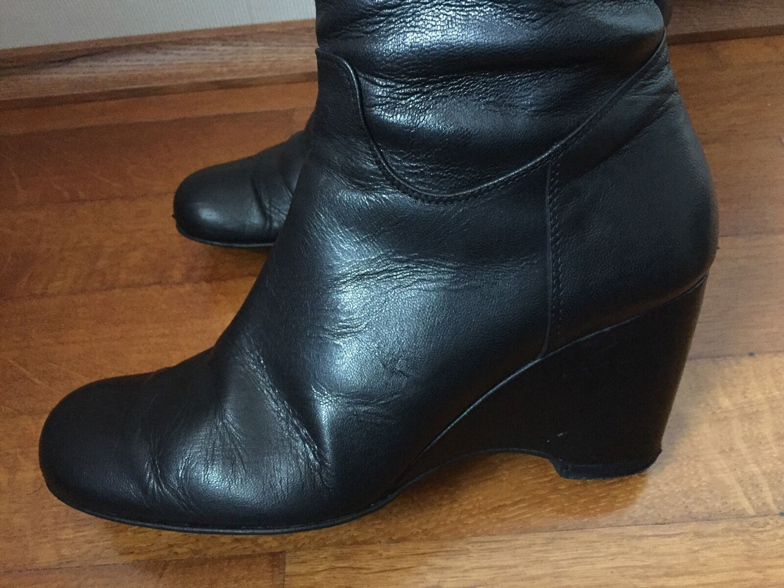 Stiefel Wedges Blogger Riccardo Cartillone 38 UK5 Blogger Wedges Leder Leather Keilabsatz 0addf2