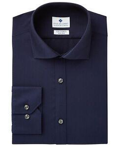Ryan-Seacrest-Mens-Slim-Fit-Stretch-No-Iron-Dress-Shirt-17-32-33-Navy-Blue