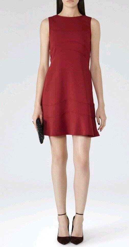 Designer REISS Sara crimson panelled dress size 6 --BRAND NEW-- lined burgundy