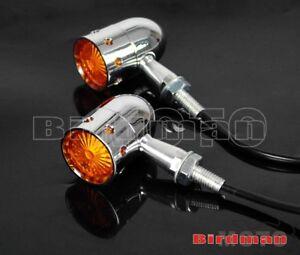 Chrome-Alu-Smoke-Orange-Lens-LED-Turn-Signal-Light-Lamp-For-Harley-Dyna-Softail
