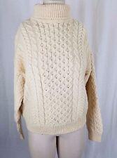 Carraig Donn Wool Aran Cable Knit Fisherman Turtleneck Sweater Womens M Ireland