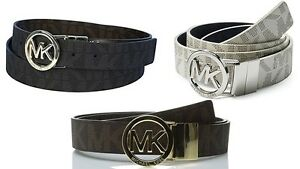 New-Michael-Kors-Women-039-s-Reversible-MK-Logo-Belt-Brown-Black-Vanilla-551342