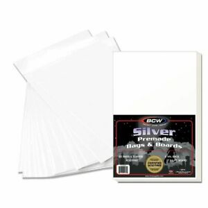 Pack of 50 BCW Silver Resealable Poly Bags & Acid Free Backer Boards for Comics