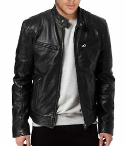 Men-039-s-SWORD-Black-Genuine-Lambskin-Leather-Biker-Jacket
