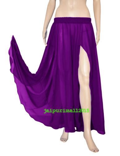 Women Girl Chiffon 2 Front Slit Skirt Half Circle Long Belly Dance Costumes Boho