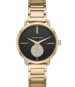Michael-Kors-MK-3788-Women-039-s-039-Portia-039-Quartz-Stainless-Steel-Watch-Gold-Tone