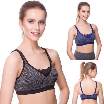Femme Extensible Entraînement Crop Top Femmes Confortable Sport Soutien-gorge avec dentelle FG9207