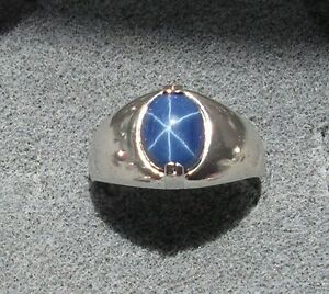 Men S 10x8mm 3 Ct Linde Lindy Crnflwr Blue Star Sapphire Created Second Ring Ss Ebay