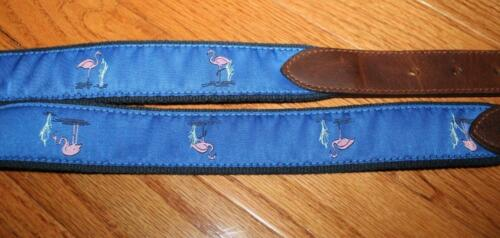 NEW Mens Brooks Brothers Pink Flamingos Embroidered Webbed Overlay Belt *4Y