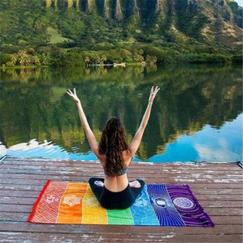 Coloré Tapisserie Serviette Mandala Boho Stripes Yoga Mat Couverture de plage FP