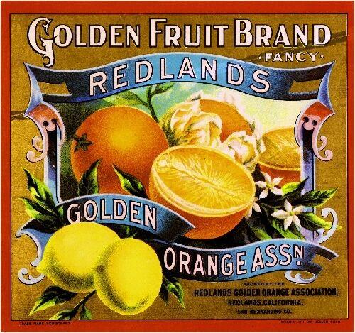 Redlands San Bernardino Golden Fruit Orange Citrus Fruit Crate Label Art Print