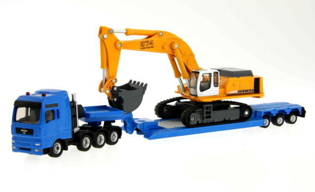 Siku Super 1847 1:87 Heavy Haulage Transporter with Flat-Bed Liebherr Digger