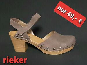 Details zu Brandneu Rieker Schuhe Damen Plateau Sandalen Clogs Leder braun Nieten Neu