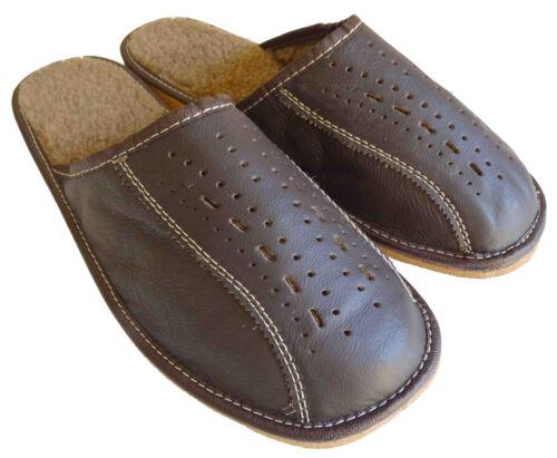 Señores de cuero zapatillas de casa pantuflas marrón oscuro con forro de cordero talla 42-47
