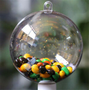 10PCs Plastic Balls Clear Christmas Tree Ornament Bauble Decor Open Box Gift Can