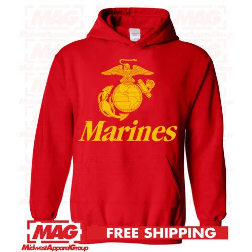 MARINES HOODIE RED USMC Military Armed Forces Hooded Sweatshirt