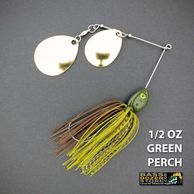 Bassdozer spinnerbaits DOUBLE THUMPER 1/2 oz GREEN PERCH spinner bait