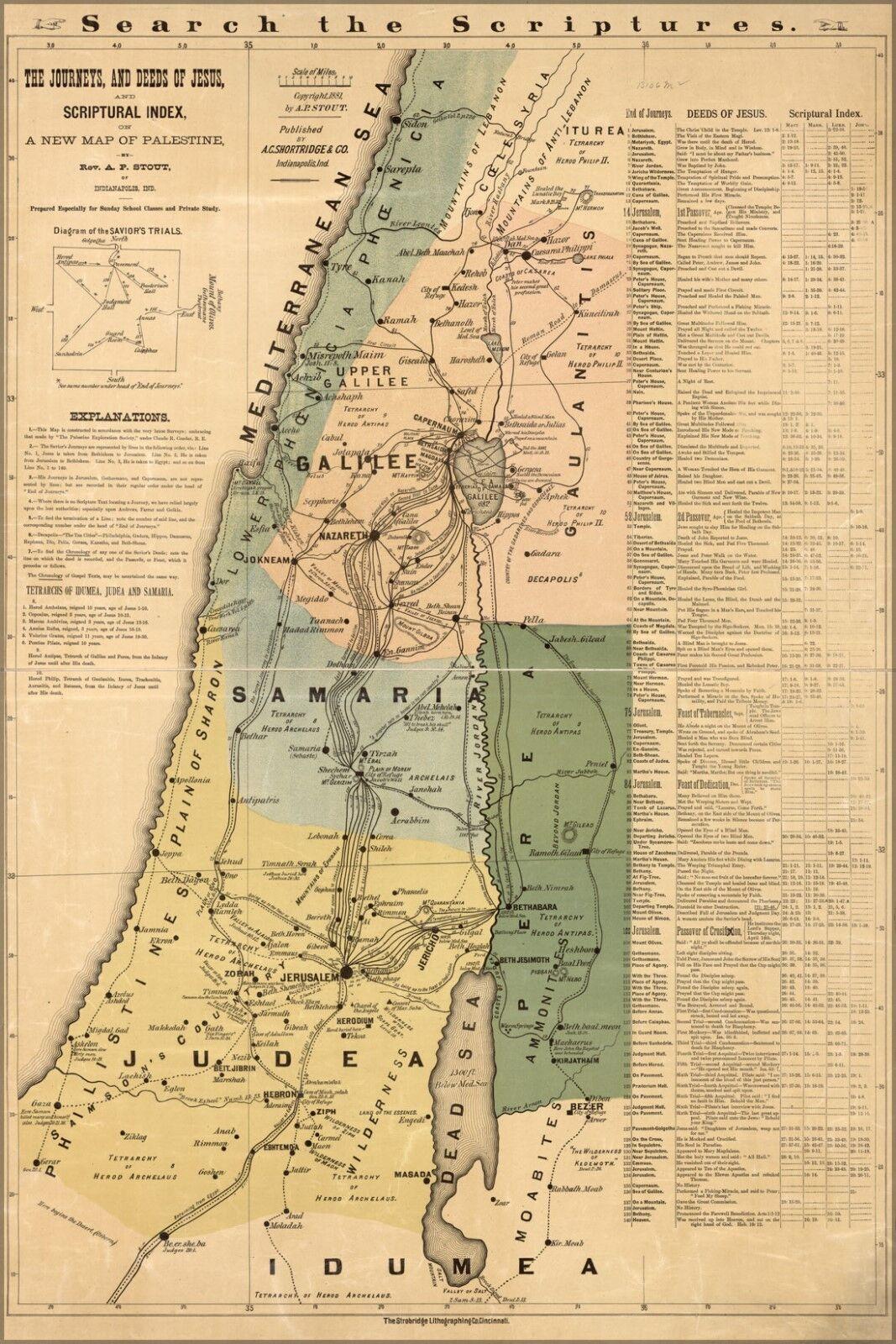 Plakat, Viele Größen; Bibel Karte von Jesus Im Israel Palästina