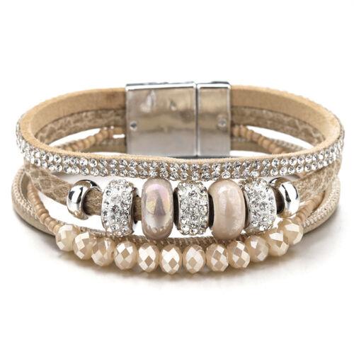 Fashion Women Leather Ceramic Rhinestone Crystal Beads Magnetic Chram Bracelet
