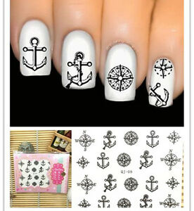nagel sticker nail art tattoo 3d schwarzer anker kompass. Black Bedroom Furniture Sets. Home Design Ideas