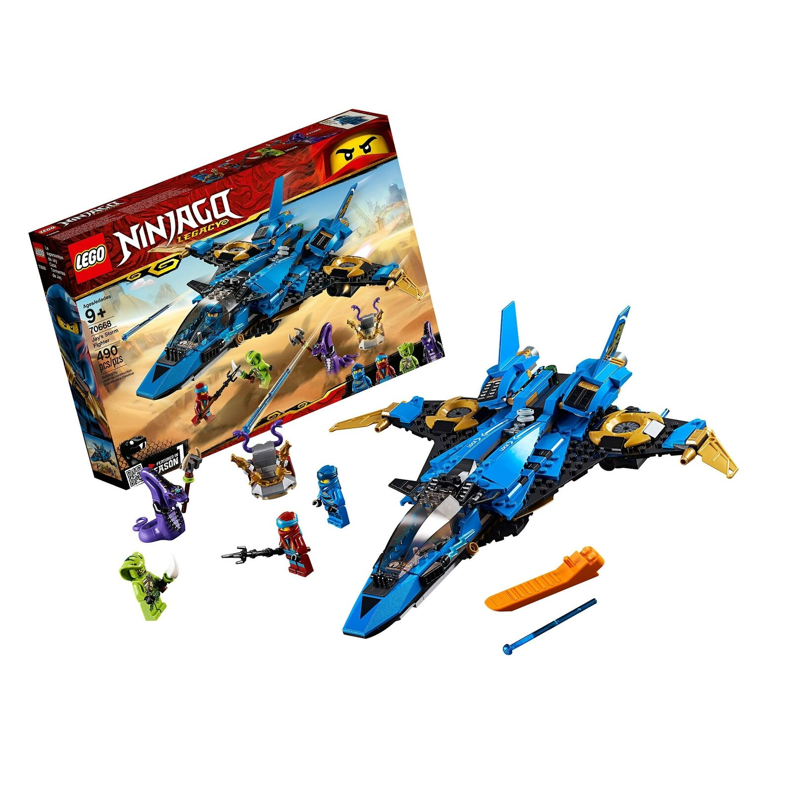 LEGO NINJAGO Legacy Jay's Storm Fighter 70668 Building Kit, New 2019 (490 Pie...