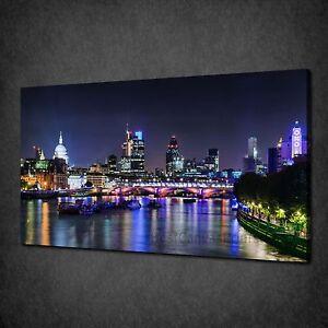 BEAUTIFUL-LONDON-SKYLINE-NIGHT-CITYSCAPE-BOX-CANVAS-PRINT-WALL-ART-PICTURE