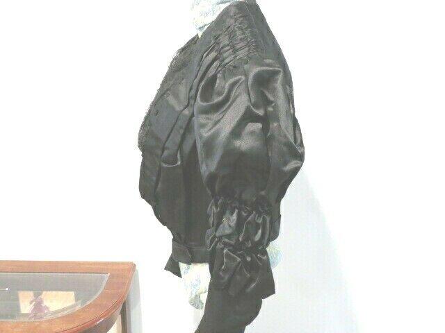 Antique 1880 - 1890's Black Silk Satin Bodice wit… - image 2