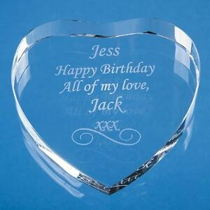 Anniversary Thank You Gift Personalised Engraved Glass Heart Paperweight