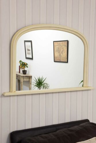 Large Wall Mirror 4Ft X 2Ft7 120cm X 79cm Arched Ivory Cream Over Mantle