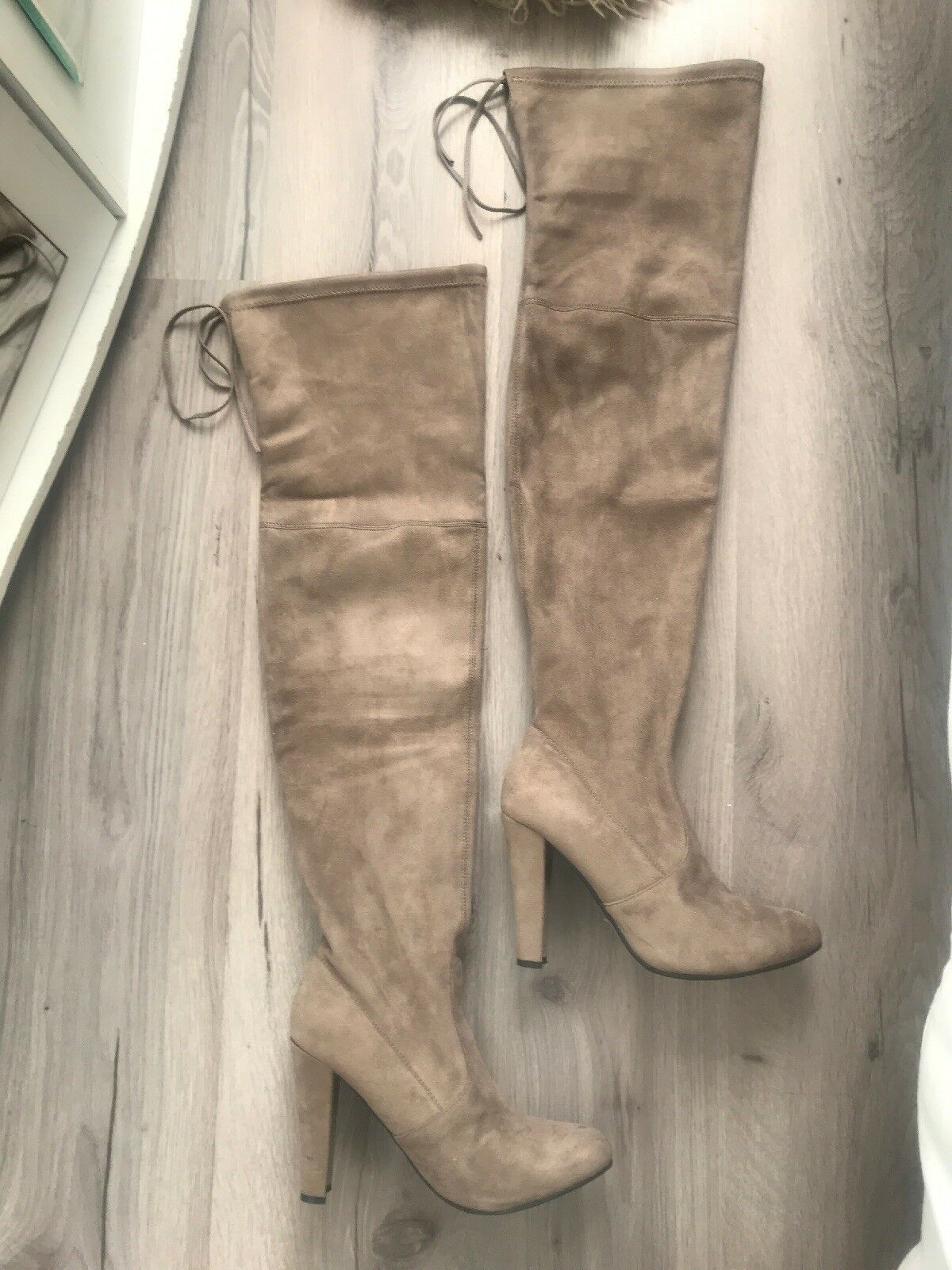 Steve madden Taupe Over Knee Thigh Thigh Thigh High Faux Suede Boots Uk6 1f7028