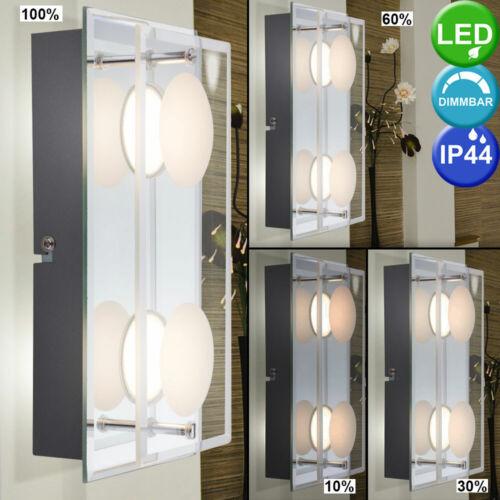 Luxus LED Wand Leuchte Glas Schlaf Zimmer Chrom Bad Feuchtraum Lampe DIMMER