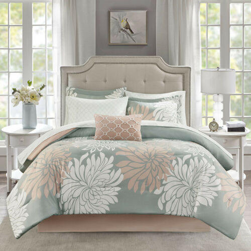 NEW! ~ BEAUTIFUL MODERN CHIC GREY SOFT PINK WHITE FLOWER COMFORTER SET & SHEETS