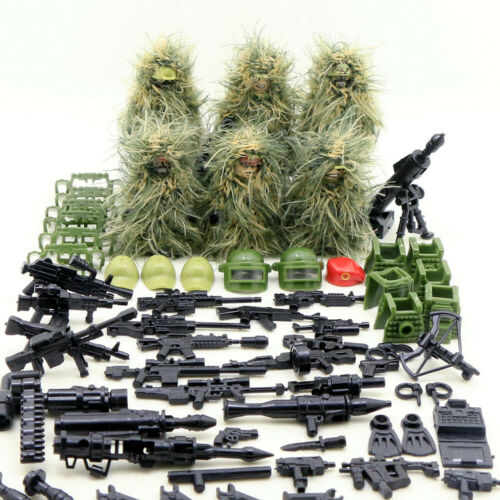 6pcs Ghillie Suit MILITARY Camouflage Army Special Forces Soldier War SWAT Build