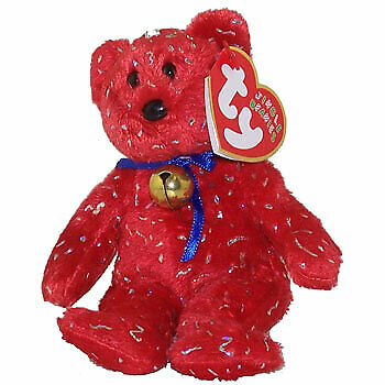 DECADE the Bear TY Jingle Beanie Baby - MWMTs Holiday Red 5.5 inch