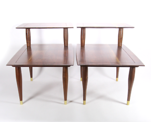 Image Is Loading Pair Bissman 1142 Solid Walnut End Lamp Tables