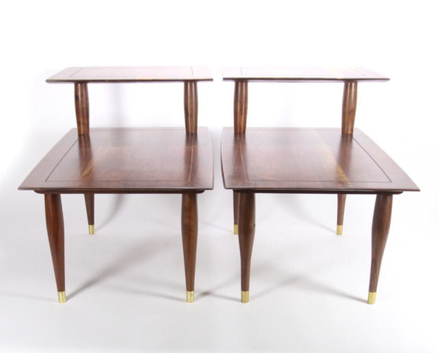 Pair Bissman 1142 Solid Walnut End Lamp Tables Mid Century 2-Tier Restored