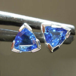 1.00 Karat Paar Trillion Natürlich Blauer Saphir Ohrring 14K Echt Weißgold Stud